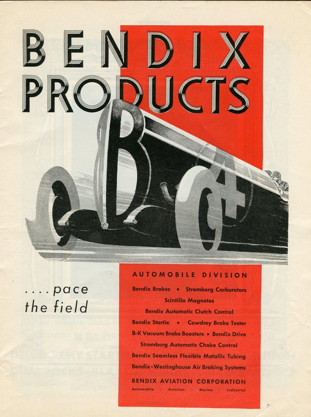Bendix Aviation Corporation Advertisement, Indianapolis 500 Program, 1932, page 7, WOS#2720