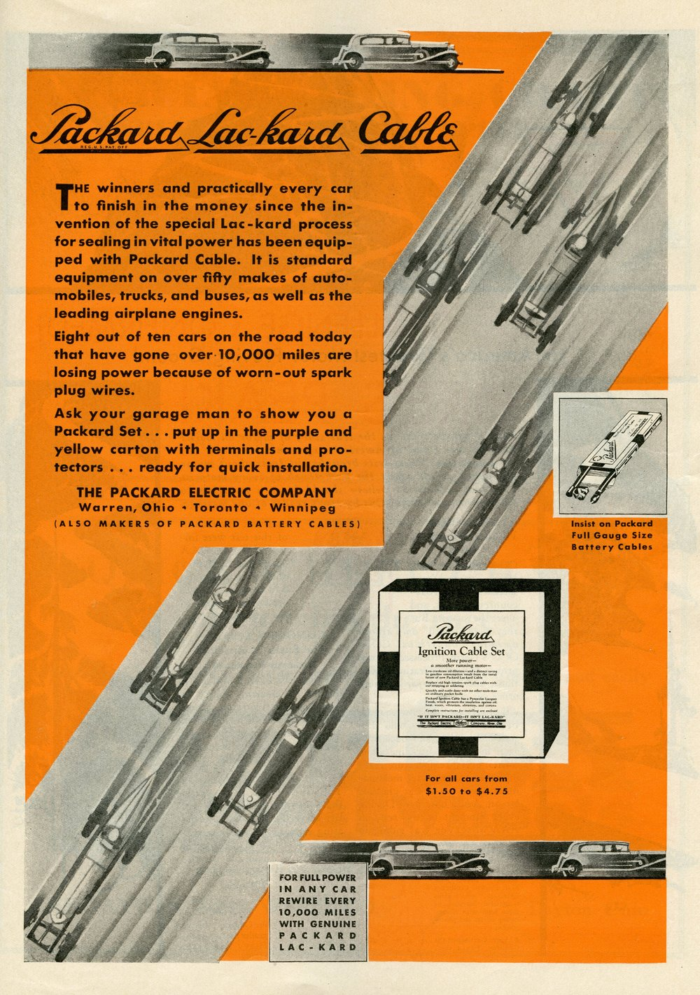 Packard Ignition Cable Set, Indianapolis 500 Program, 1930, page 47, WOS#2719