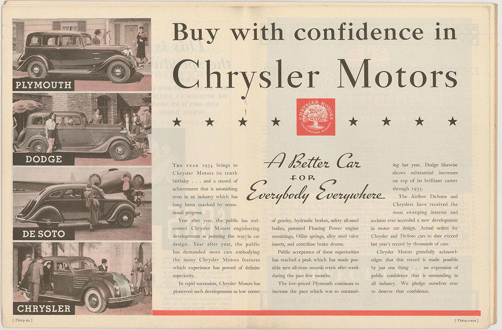 Chrysler Motors Advertisement, Indianapolis 500 Program, 1934, page 36. WOS#2722