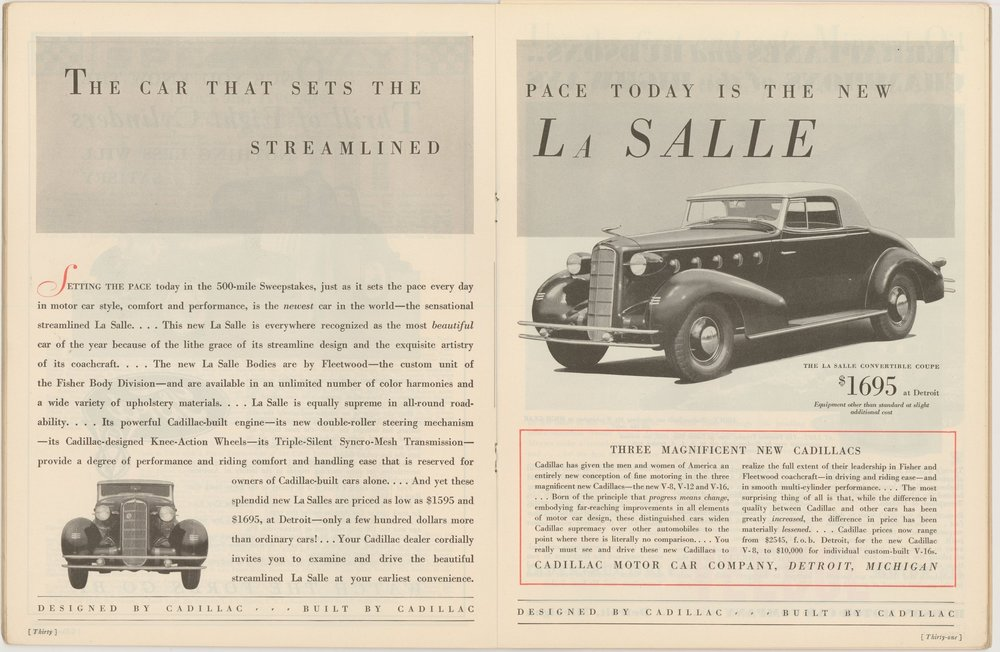 La Salle Advertisement, Indianapolis 500 Program, 1934, p. 30. WOS#2722
