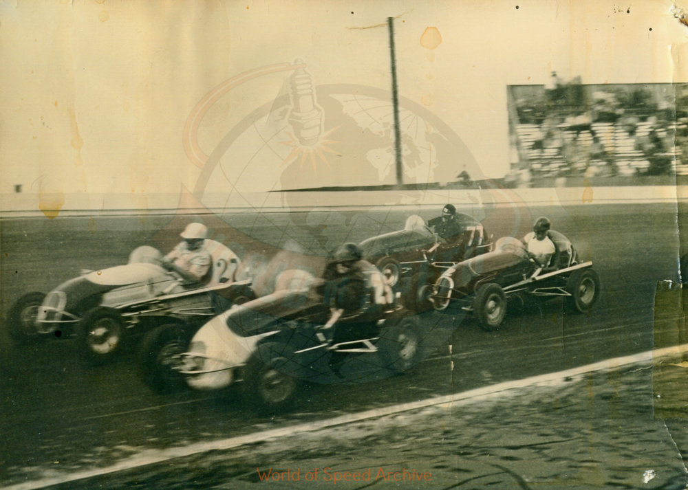 Hildick Photo Collection WOS#5072, BH012  Received submission:  #27 Wade Althuser, #25 Bob Gregg, #77 Louie Sherman, #2 Gordy Livingston, 1948