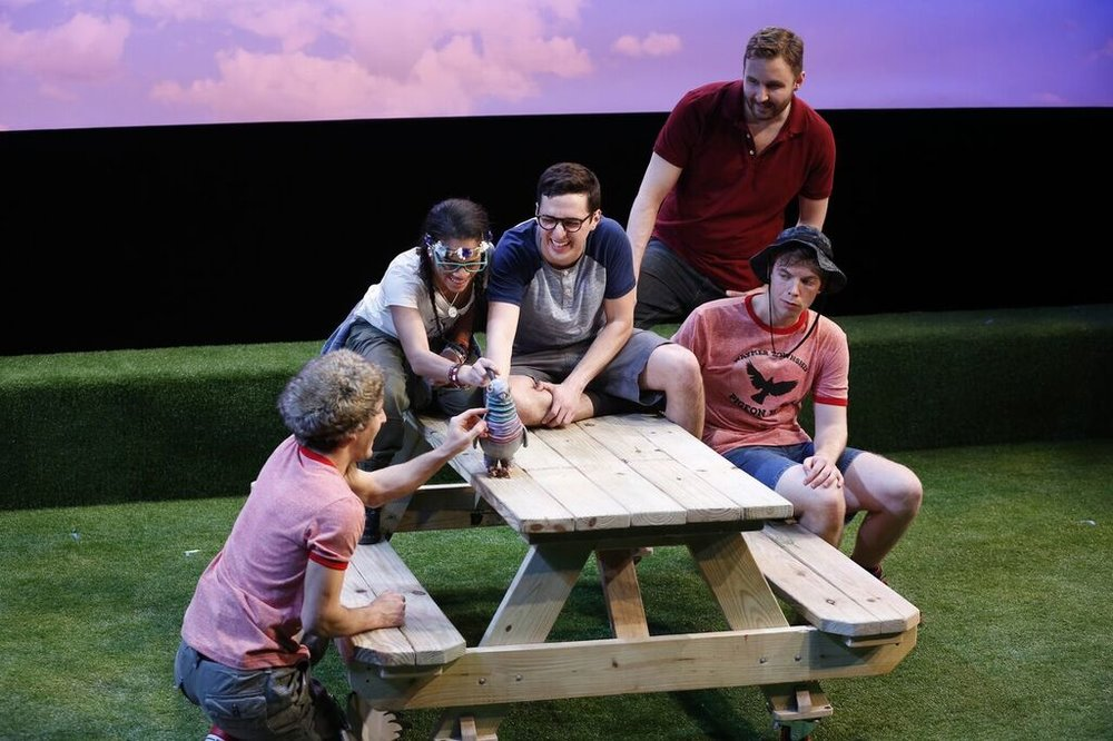 "WRINGER; Off-Broadway, New York City Center Stage II (2016)  Danny Harris Kornfeld as Mutto, Storm Lever as Dorothy, Dan Rosales as Palmer, Geoffrey Lind as Mr. LaRue, Spencer Glass as Beans and ""Nipper"" designed by James Ortiz   Photo by Carol Rosegg"