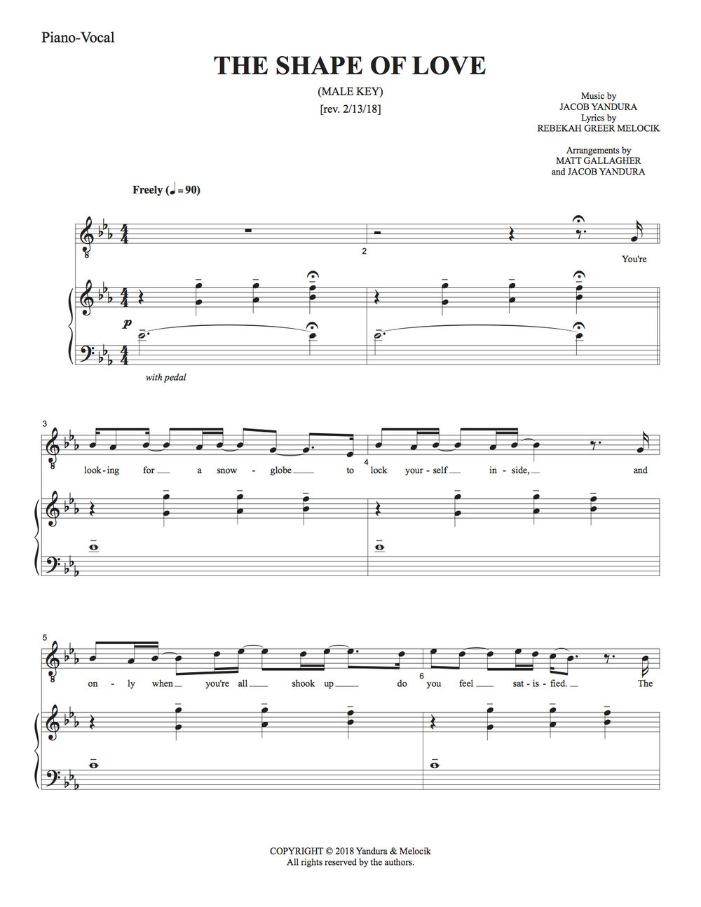 THE SHAPE OF LOVE - MALE KEY  Male solo, ballad, pop, baritenor Eb3-G4