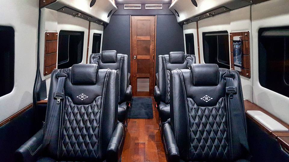 MD Travel Lounge C Sprinter Rear Water Closet, Black Ink and Lt Silver Interior, and Deep Walnut Trim.