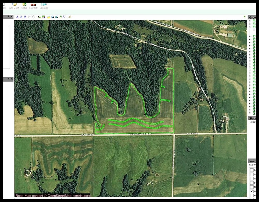Step 1:  Mapping.    - Using a customer-provided boundary we digitize imagery, or import files and download soil type information. A grid is laid-out, which guides us while sampling.