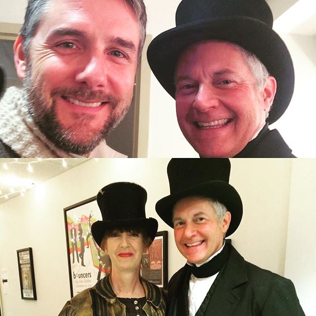 Paper Lantern family members @lee_spencer Beth Ritson and Ben Baker ringing in the holiday spirit with @triadstage A CHRISTMAS CAROL.