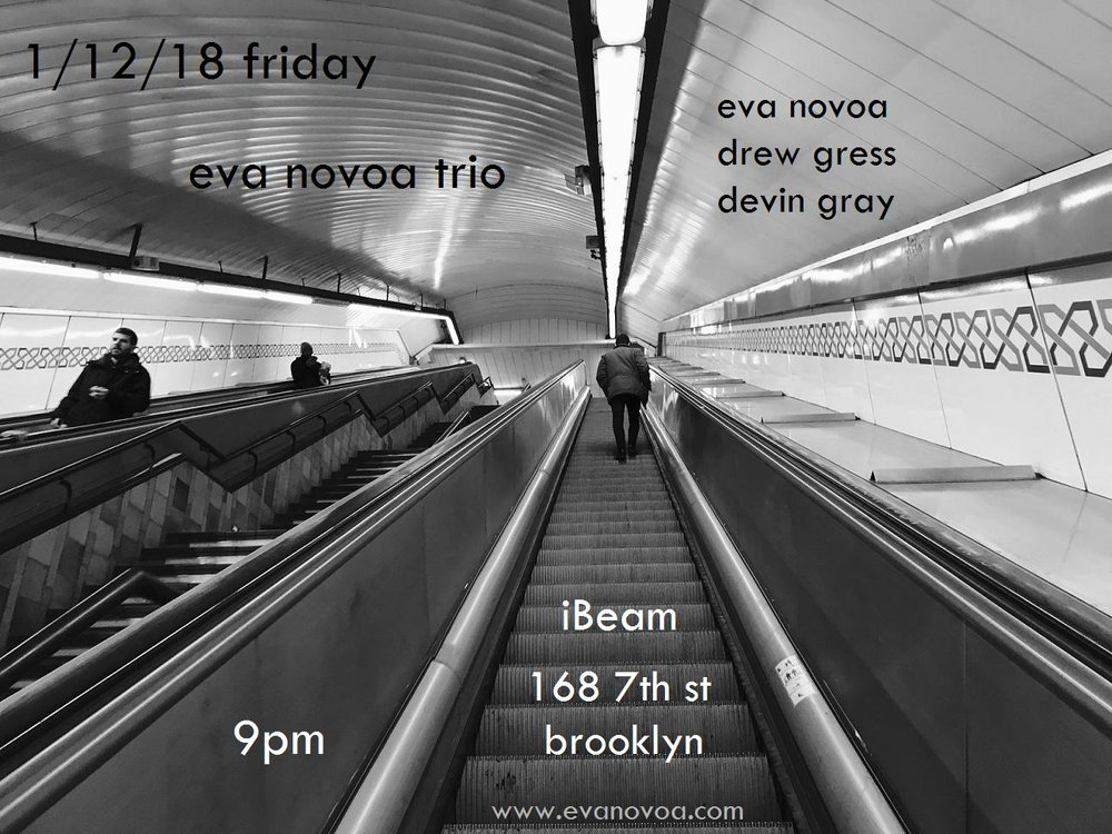 eva novoa, piano drew gress, bass devin gray, drums  thrilled to play with this wonderful trio again!!   100% music, no beer/ no alcohol  9pm $15  IBeam: 168 7th st Brooklyn, NY 11215   come support live music & say happy new year!