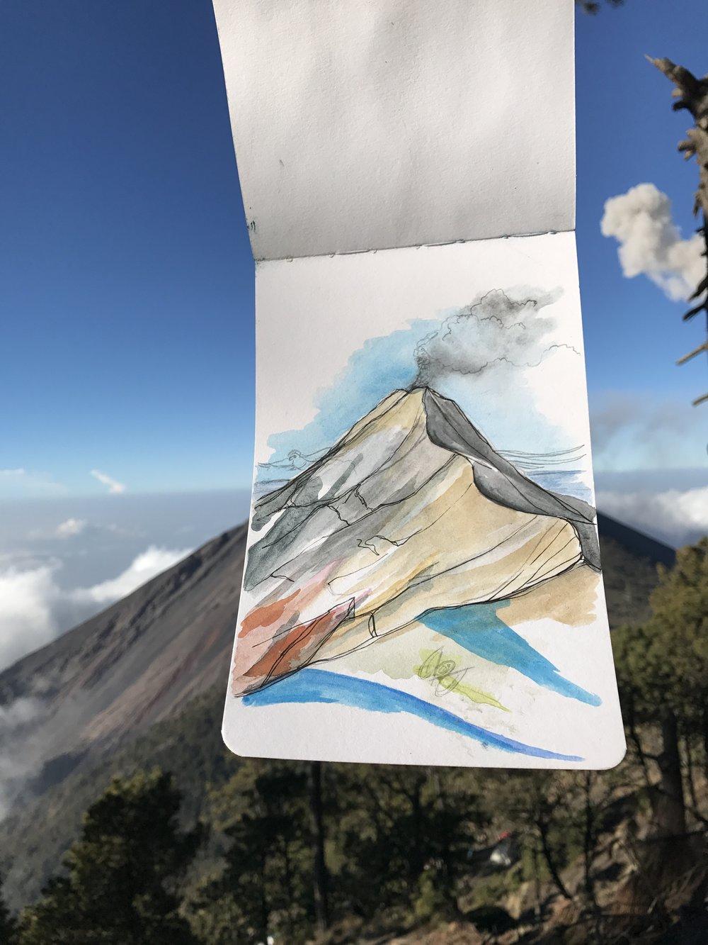 Volcan de Fuego - Basecamp Morning Sketch