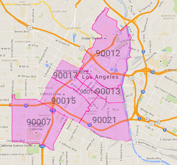 Zip codes within our delivery zone: 90007, 90012, 90013, 90014, 90015, 90017, 90021, and 90071. (Subject to change)