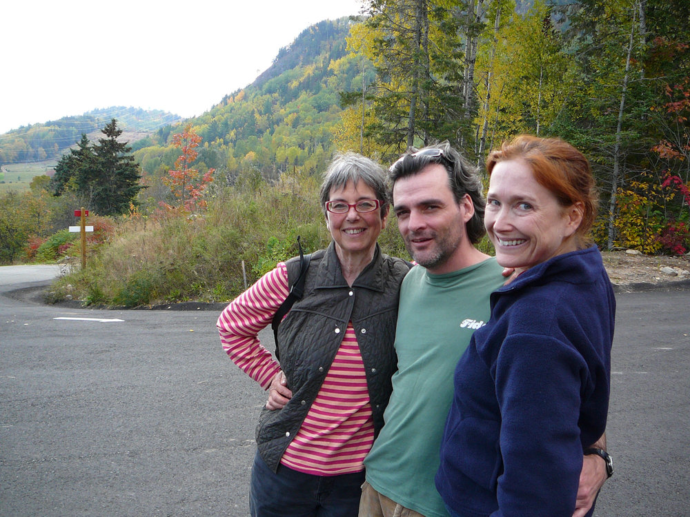 My first residency at Tadoussac was in 2006. Here I am with our wonderful chef, Lise Vaillancourt; acclaimed Québec playwright Serge Boucher; and a truly unfortunate hair colour.
