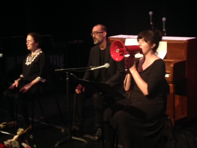 L-R: Me, Dave Chokroun, Sarah May Redmond.     He Said it & White Wines   ,  a staged reading of two plays by Gertrude Stein, directed by James Fagan Tait (The Cultch, Vancouver, June 4-5, 2016). Produced by Radio Free Stein. Personal photo.