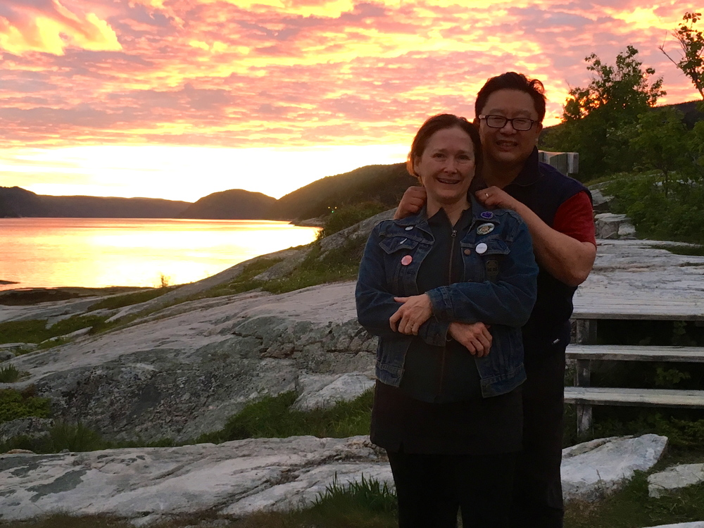 In Tadoussac with a fellow artist at this year's Glassco Translation Residency: my husband, Jovanni Sy.