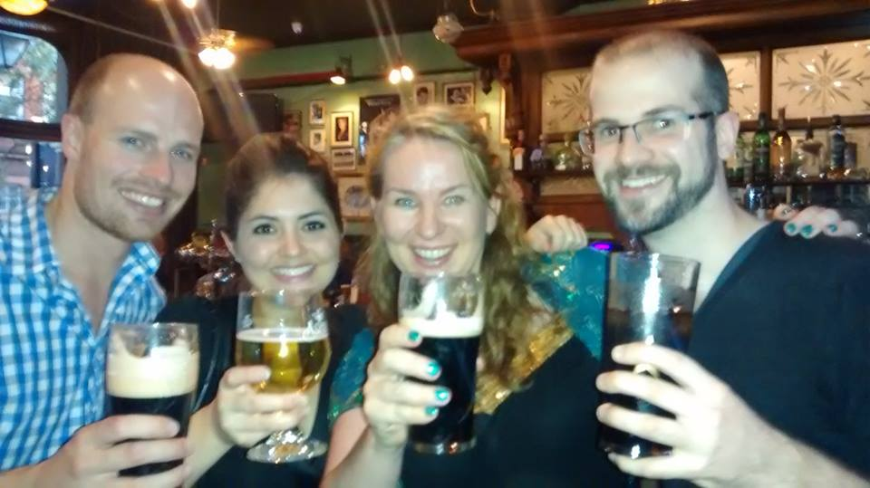 The winning team:  Nic Kyle,   Claire Filer ,  Grainne Gillis  and  Terence Penk  at  King's Head Theatre Pub . Not pictured: Una Reynolds.