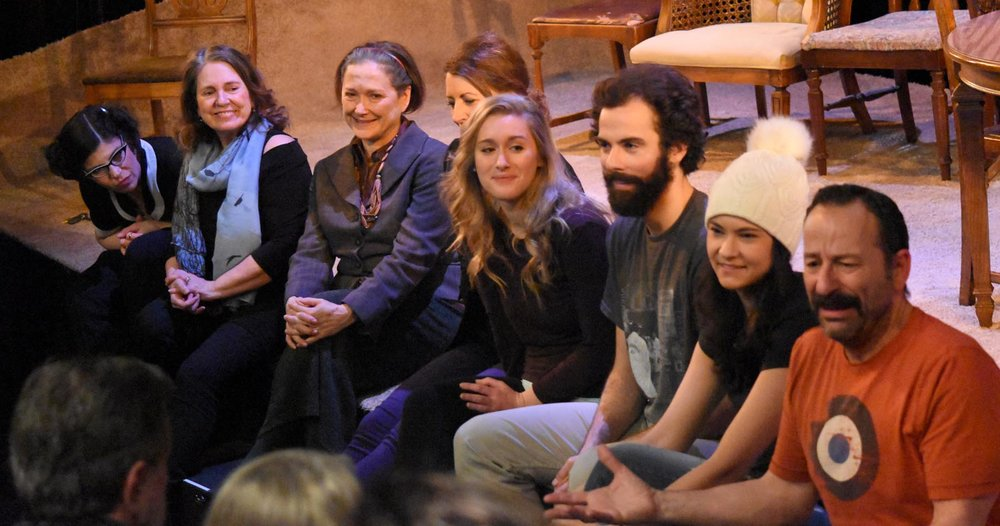 The cast of Gilles Poulin-Denis' production of Michel Tremblay's modern classic   Bonjour, là, bonjour   (Théâtre la Seizième) at a post-show talk-back. L-R: Annie Lefebvre, Thérèse Champagne, me, Lyne Barnabé, Siona Gareau-Brennan, Vincent Leblanc-Beaudoin, Émilie Leclerc, Joey Lespérance. Photo by Denis Bouvier.