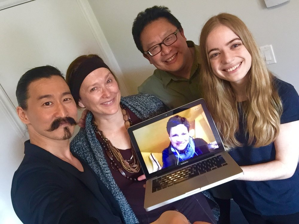 PTC Associates (2017-20) held our second meeting in May, 2017. L-R: Tetsuro Shigematsu, me, Jovanni Sy, Veronique West. Joining us by Skype: Kendra Fanconi. Photo by Tetsuro Shigematsu. (Vancouver, BC)