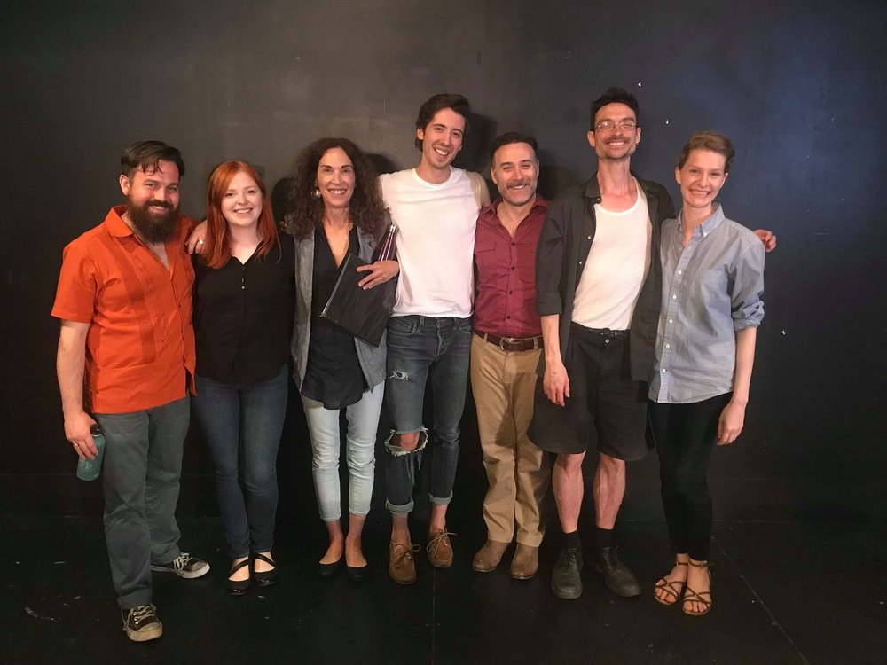 The cast of Friday's public reading at the Tarragon Theatre, Toronto. L-R: Scott Emerson Moyle; Amy Keller; Liz Best; Alex Zonjic; M. John Kennedy; director Eric Benson, and Krystina Bojonowski. I'm just going to guess who they were playing: Scott as Dany; Amy as Maryline; Liz as Sylvie; Alex as Olivier; John as M. Picard; and Krystina as Alexe. (Did I get it right?)