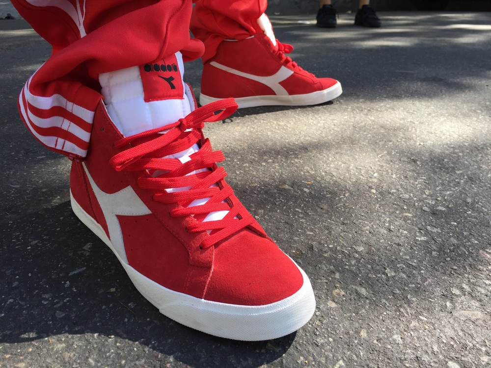 Chuck Inglish - DAMAGE Video Shoot - Red Diadoras - My Favorite.JPG