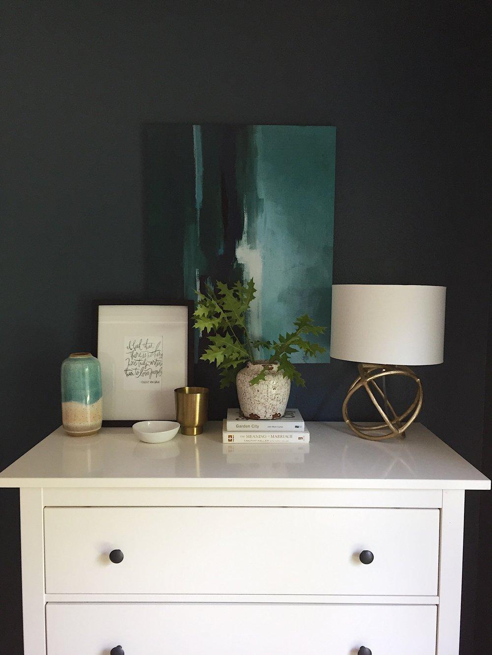 Dresser (similar), Vase, Frame, Candle, Vase, Lamp, Art