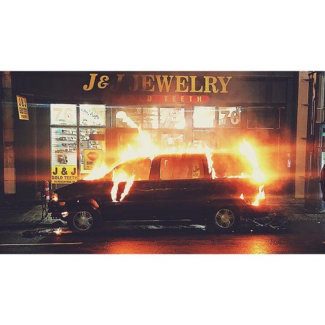 day 44 of 40 mom's gonna be pissed . . . .  #soccermomfire #minivanlife #tirefire #nightshoot #overnights #reshoots #downtown #atlanta #makingmovies #setlife #vsco #vscocam #georgia #filmgeorgia #traveljob #panavision #dxl #pyro