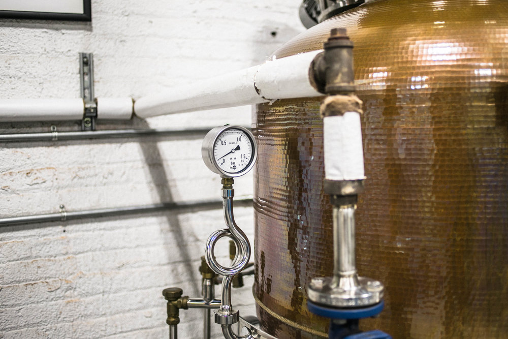 The copper pot still, where DeAngelo's American Dry Gin is vapor-distilled