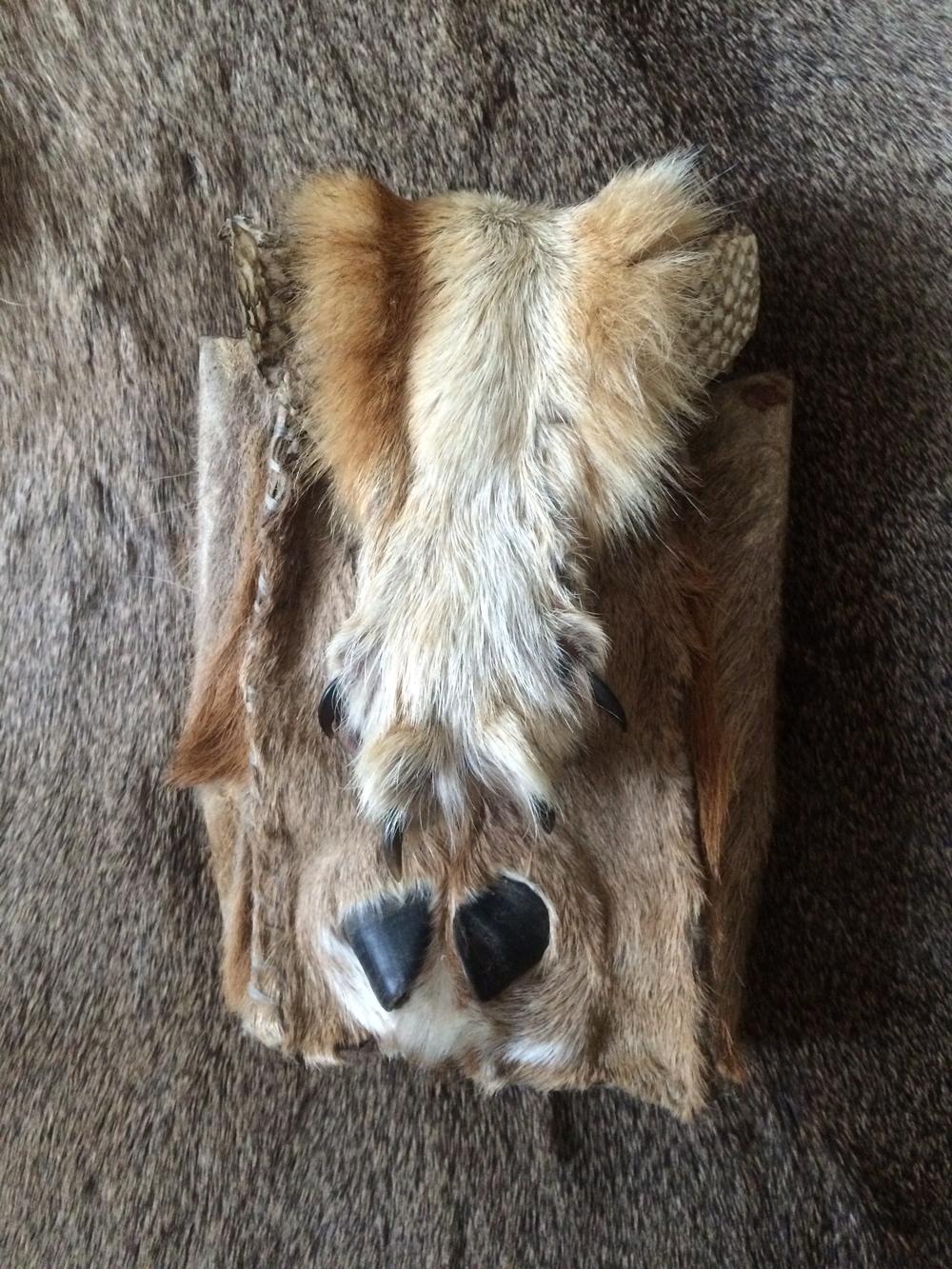 deer hocks, bark tan coyote paw, oil tan salmon skin
