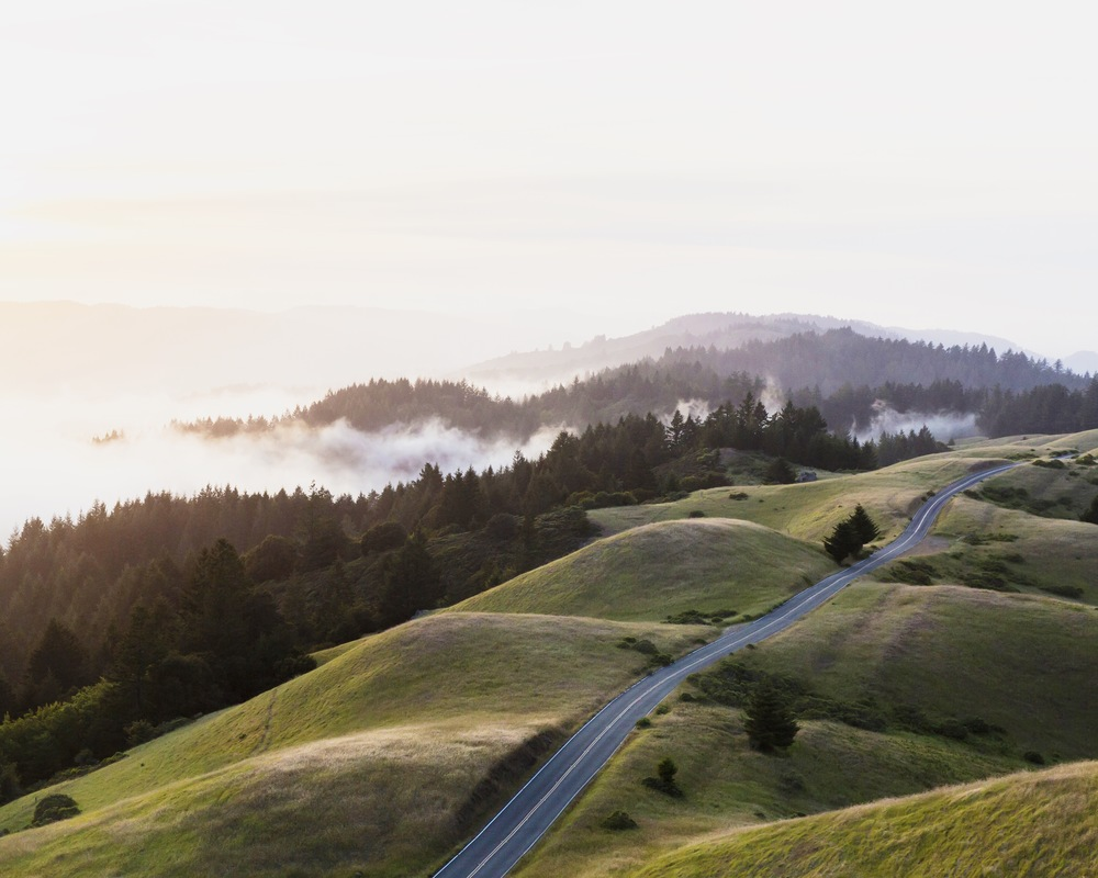 A sunrise over the road at Mt. Tamalpais
