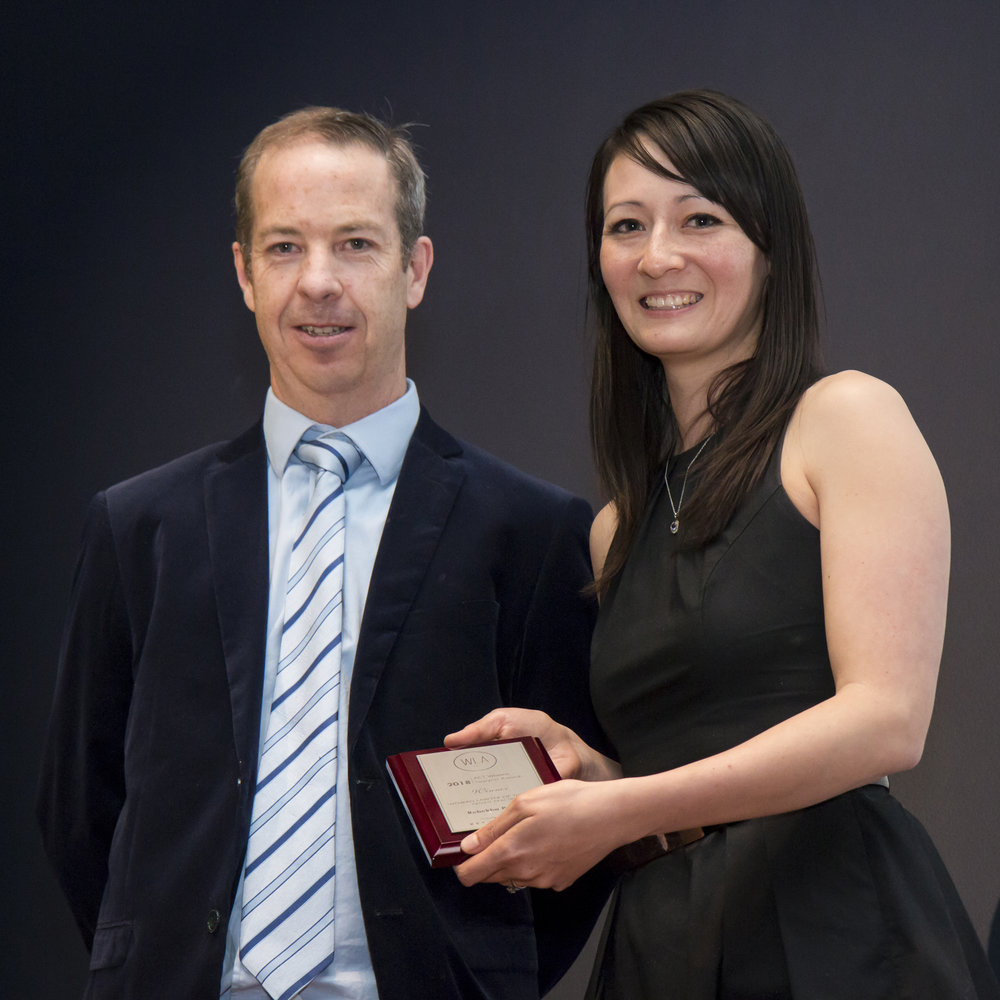 Rebekha Pattison receiving her award from Blackburn Chambers