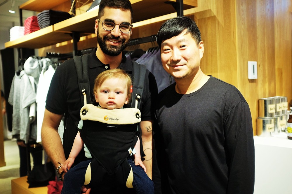 Entrepreneur and tastemaker Na'eem Adam with Frank & Oak Cofounder and CEO Ethan Song. Also, his cute lil baby.