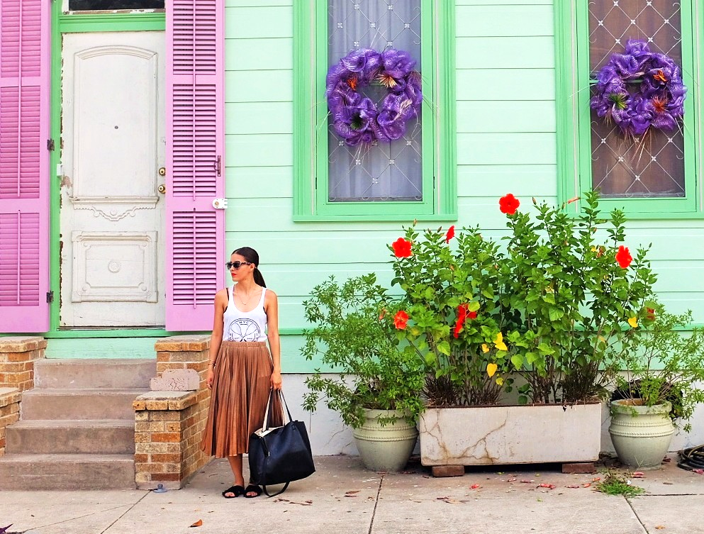 In front of our colorful Marigny home.