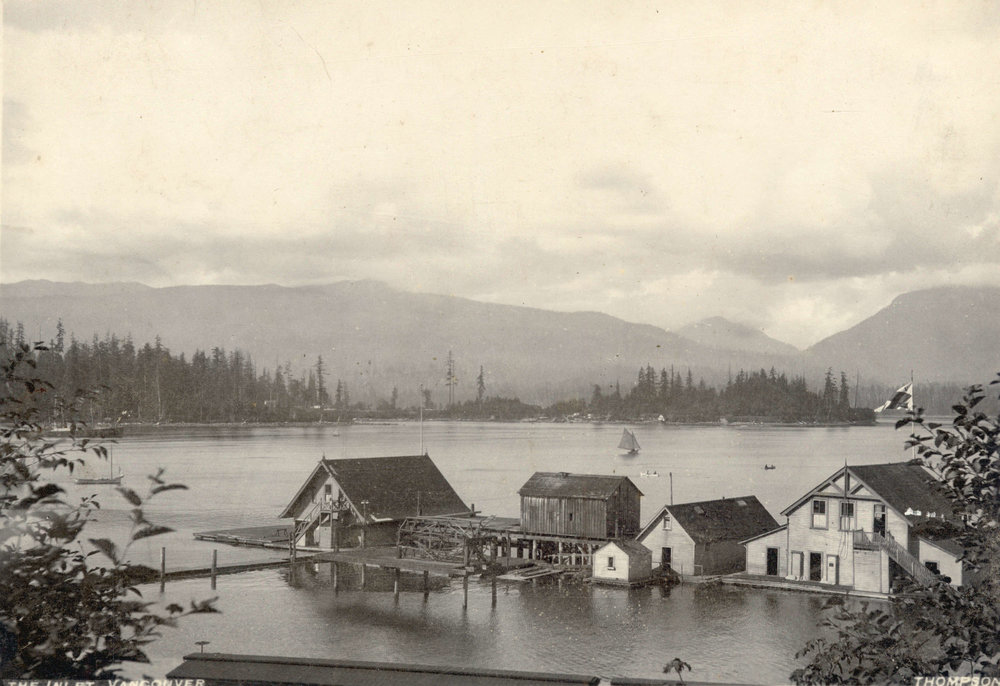 Image source: The City of Vancouver Archives  Reference Code: AM54-S4-: Bu P194  Item : Bu P194 - The Inlet, Vancouver [showing the Vancouver Rowing Club buildings]  http://searcharchives.vancouver.ca/inlet-vancouver-showing-vancouver-rowing-club-buildings