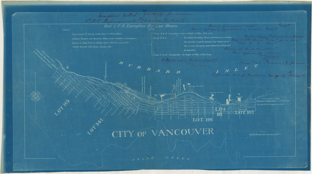 Image source: The City of Vancouver Archives  Reference Code: AM42-S6-: LEG1363.04  Item : LEG1363.04 - What C.P.R. [Canadian Pacific Railway] exemption by-law means  http://searcharchives.vancouver.ca/blueprint-map-with-penned-notes-what-c-p-r-exemption-by-law-means