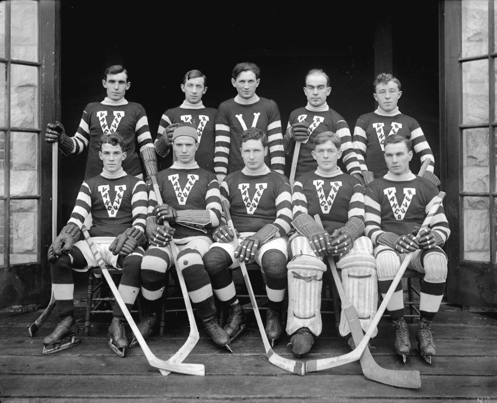 Image source: The City of Vancouver Archives  Reference Code:AM1535-: CVA 99-126  Item : CVA 99-126 - Vancouver ice hockey team  http://searcharchives.vancouver.ca/vancouver-ice-hockey-team