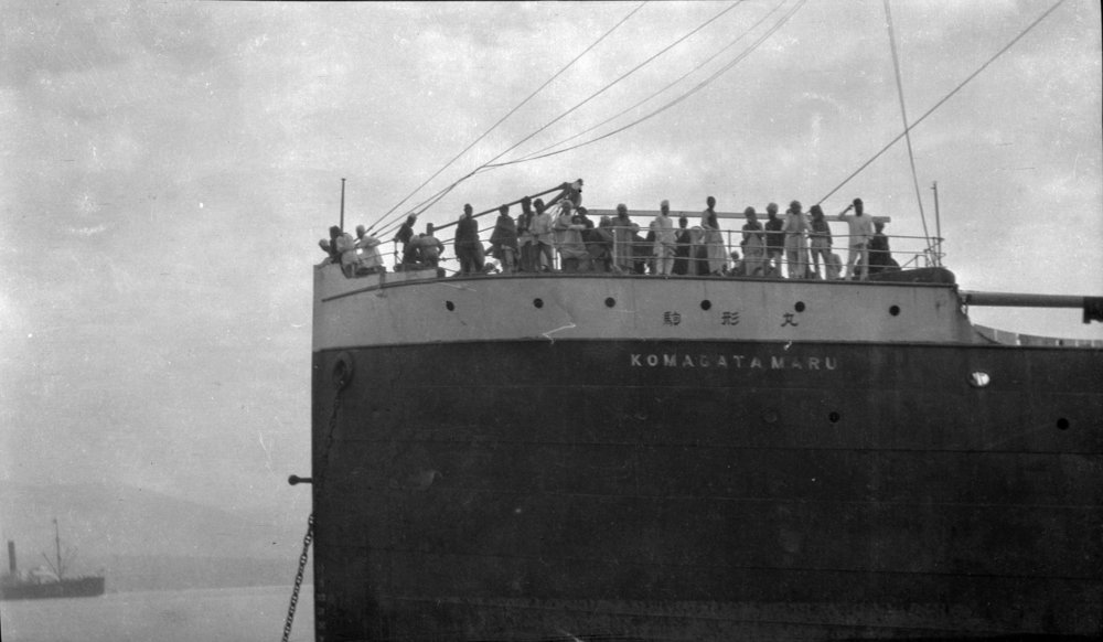 "Image showing British-Indian immigrants stranded on the Komagata Maru off Coal Harbour in 1914. Source: The City of Vancouver Archives Reference Code: AM1584-: CVA 7-122 Item : CVA 7-122 - S. S. ""Komagata Maru"""
