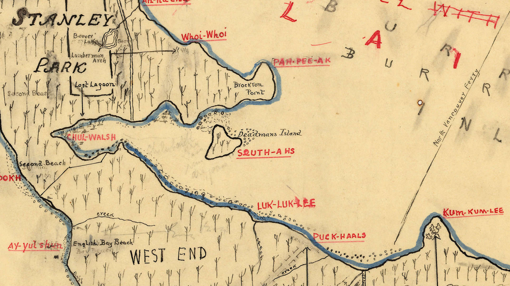 Cropped portion of a 1932 hand-drafted map by Major James Matthews showing early attempts at translating Indigenous placenames. This drawing is based on a sketch by August Jack Xats'alanexw from 'Conversations with Khahtsahlano, 1932-1954', page 24A. A source link to the full text can be found below. Source: The City of Vancouver Archives Reference Code: AM1594-: MAP 56.02 Item : MAP 56.02 - [Draft map of Indian villages and landmarks, Burrard Inlet and English Bay, before the whiteman came]