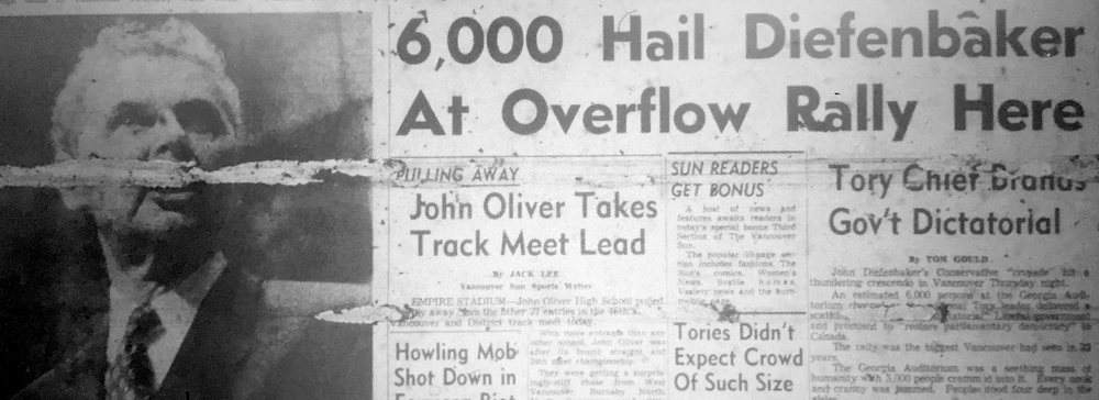 News headline from the Vancouver Sun in 1957 after huge Conservative rally in Vancouver at the Denman Auditorium. Image Source: Vancouver Public Library, History and Government Division Reference Code: N&M-M'FILM 070 V224 1957:May.; The Vancouver Sun, May 24th, 1957