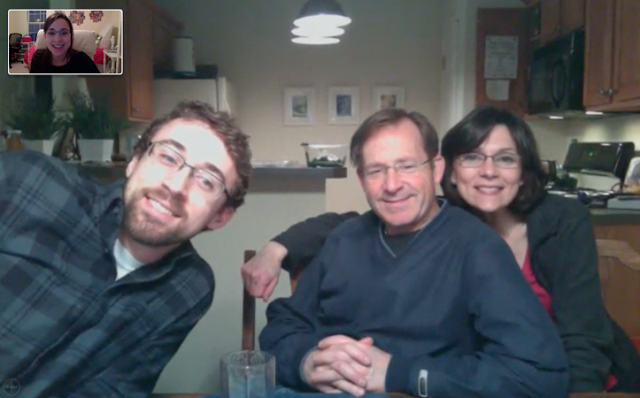 Skyping with (most of) the fam on my first day back in Como.