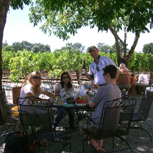 Clos Pegase picnic area in Napa