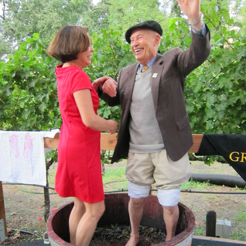 Mike Grgich stomping grapes