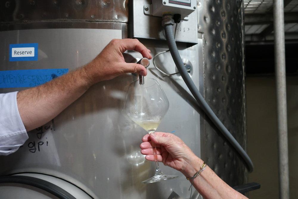 Tank tasting at Bouchaine Vineyards - FREE!