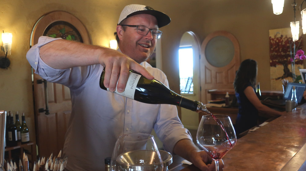 Pouring FREE wine for my readers at Bouchaine Vineyards