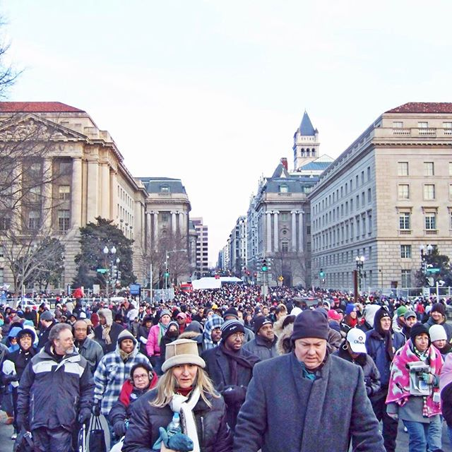 I remember this day like it was yesterday. January 21st, 2009. When I witnessed and experienced history being made. The inauguration of the first Black President of the United States of America. It was a very cold morning in #dc . But I couldn't help but stop in the middle of the crowd to take a picture of all the people who were up early and came out to witness the same thing I did. The inauguration of President Barack Obama. You will be missed. Job well done. Many blessings to you and your  family. Thank you for being an inspiration. Your level of class is contagious. ----- #obama #obamafarewell #mypresidentisblack #presidentobama #44 #washingtondc