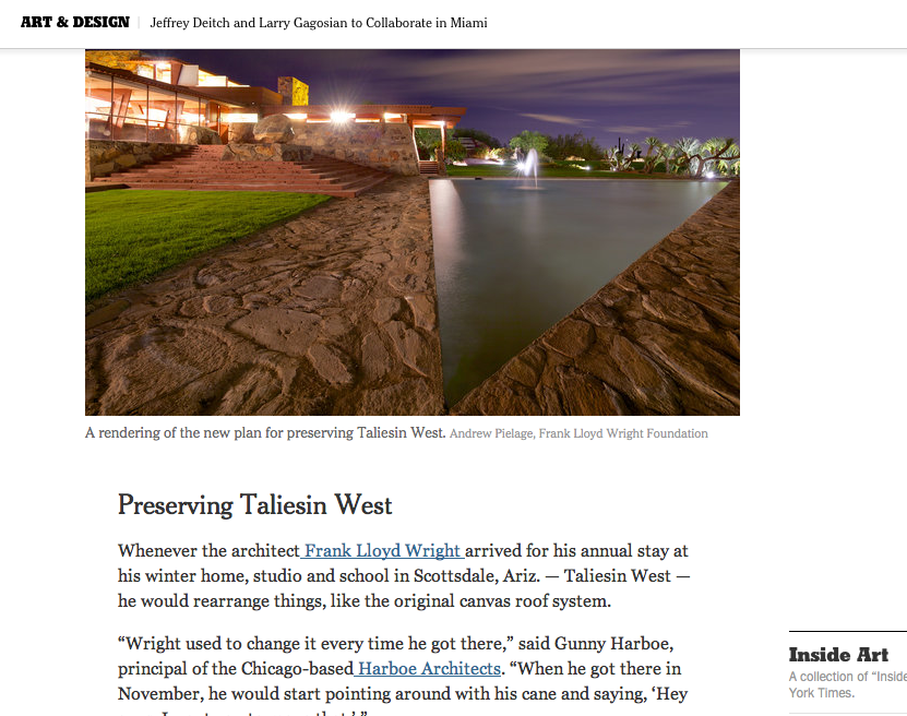 New York Times — FLWF Preservation Master Plan