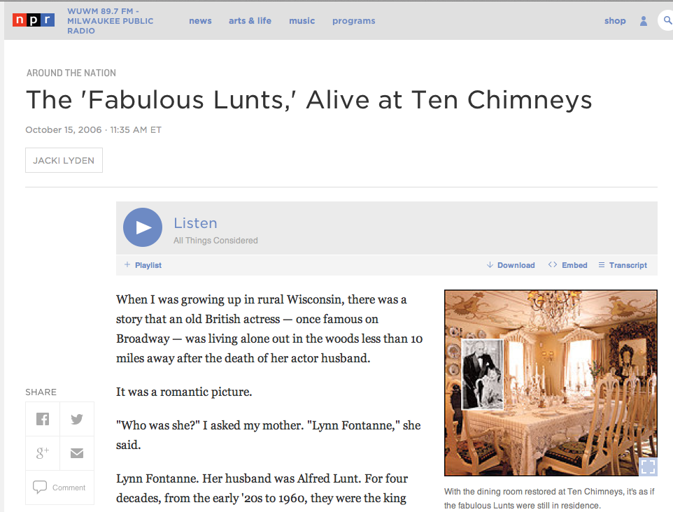 NPR All Things Considered Feature — Ten Chimneys
