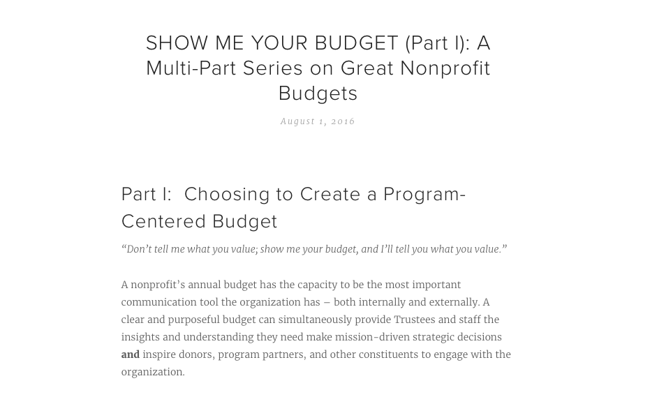 show me your budget part i a multi part series on great nonprofit