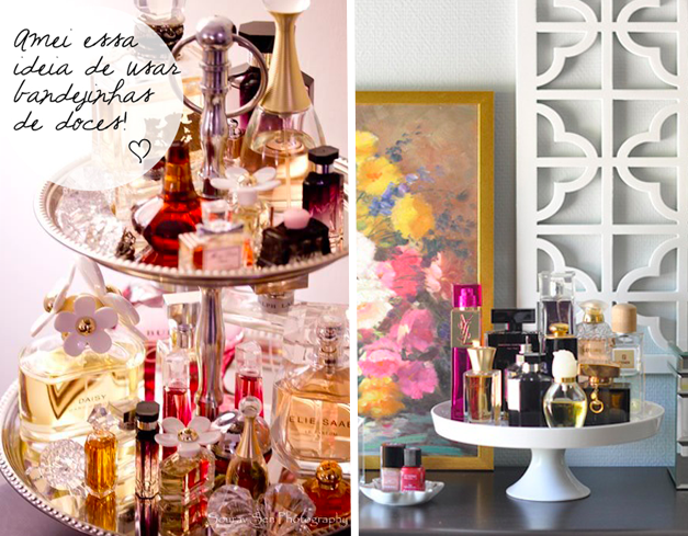 guardar perfume em bandejinha de bolo