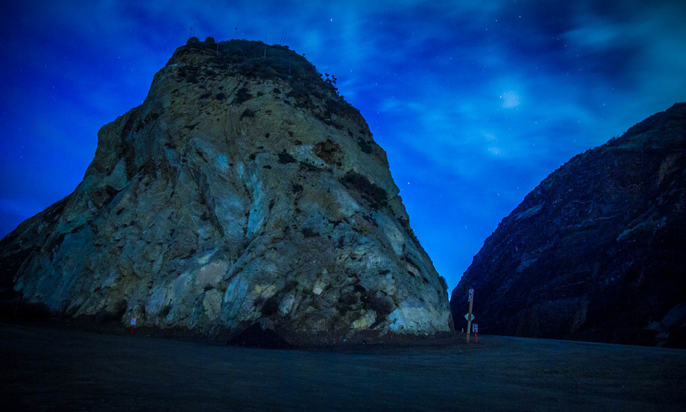 The lack of artificial light required that I take long-exposures in order to photograph Mugu Rock.