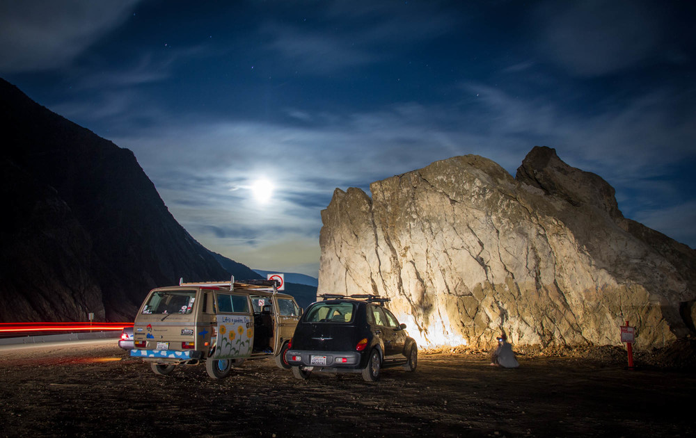 There was little light out, so the climbers resorted to their vehicle headlights for illumination.