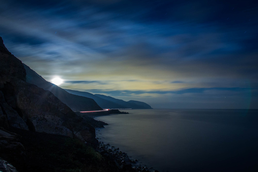 I took this long exposure to see if I could illuminate the coast. As it turned out, I could- but with results that completely shattered my expectations.