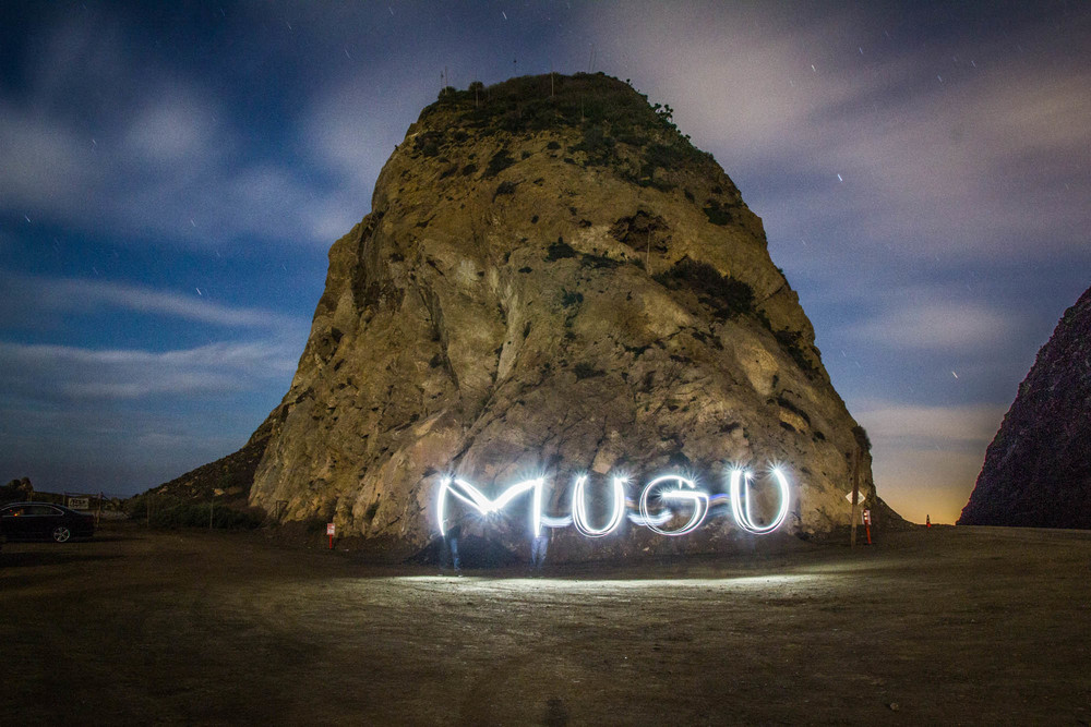 This is a long exposure of Mugu Rock and me, playing with my cell-phone flash.