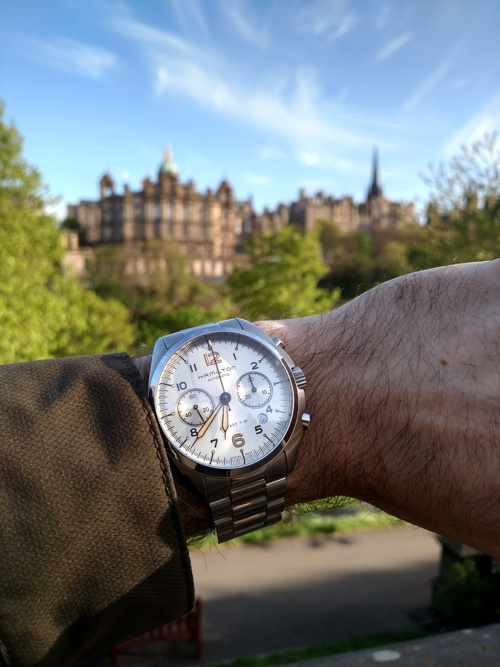 Hamilton Khaki Pilot Pioneer chronograph  Looking toward the Museum on the Mound from Scott Monument  Edinburgh, Scotland